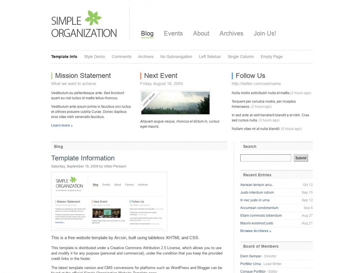 Download free HTML/CSS Template Simple Organization   Free HTML ...