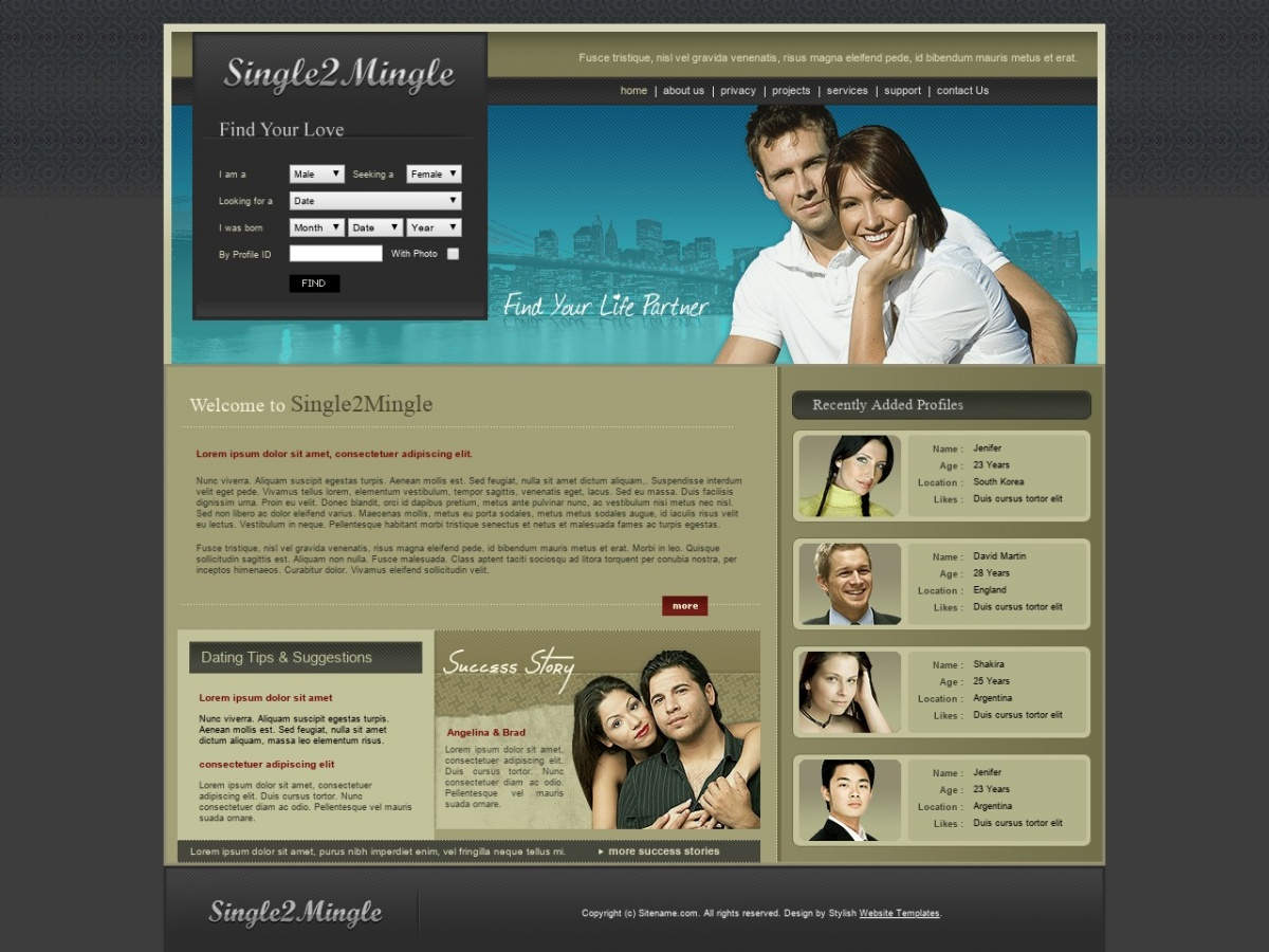 Gratis HTML templates voor dating website