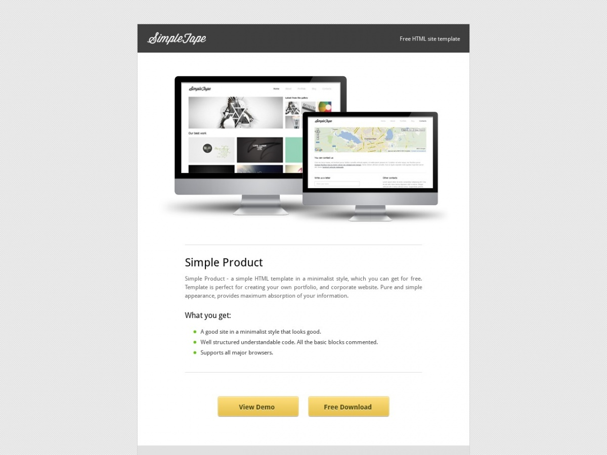Free Html Template Simple Product Free Html Templates