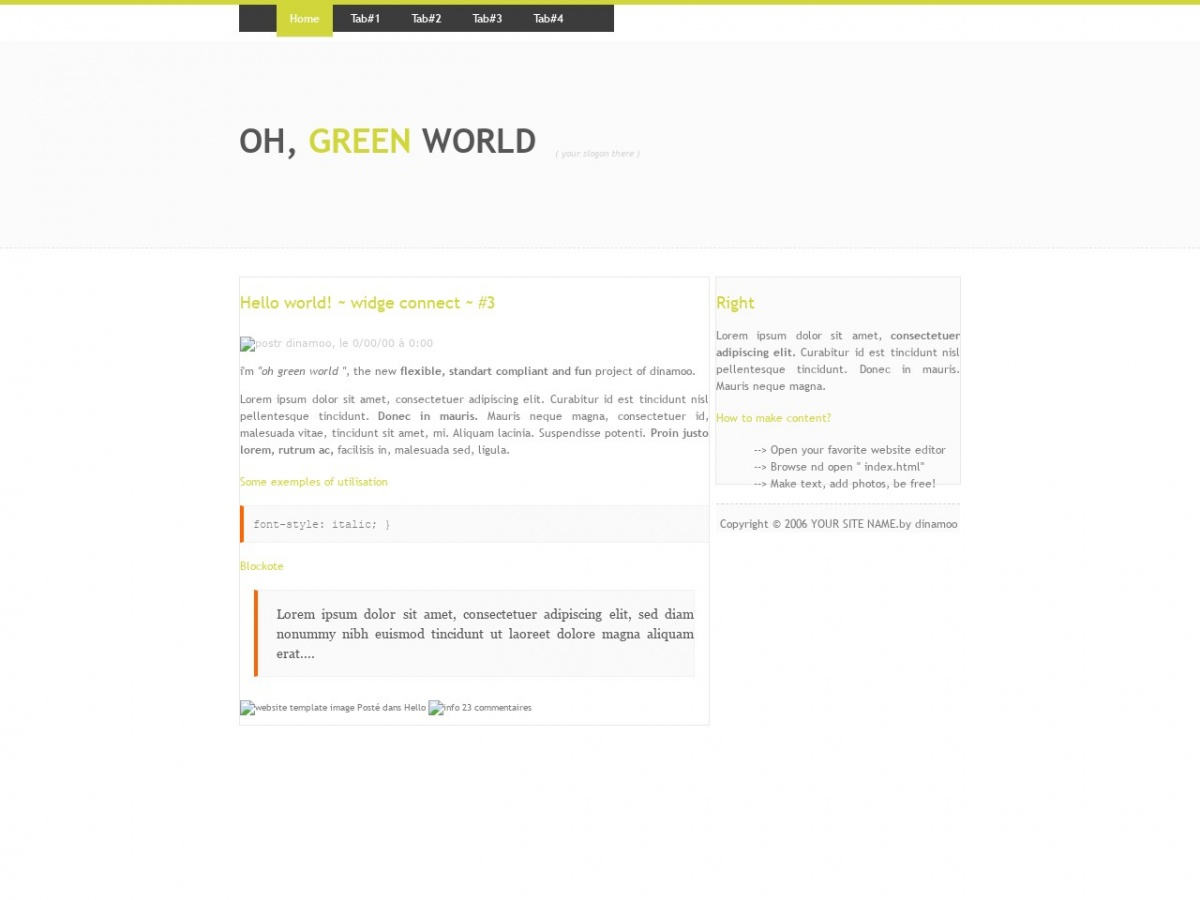 Free Html Template Oh Green World Free Html Templates